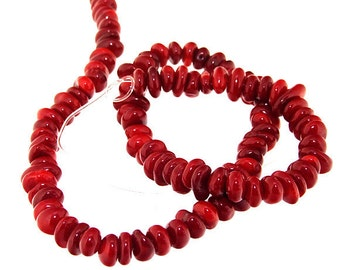 One Strand Heishi Red Coral Gemstone Beads Strand 8mm 15.5inch