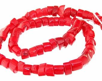 One Strand Heishi  Red Coral Gemstone Beads Strand 8mm 15.5inch