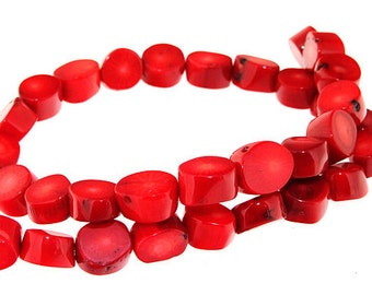 One Strand Egg Red Coral Gemstone Beads Strand 12mm 16inch
