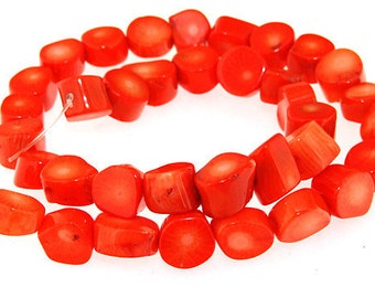 One Strand Egg Orange Coral Gemstone Beads Strand 12mm 16inch