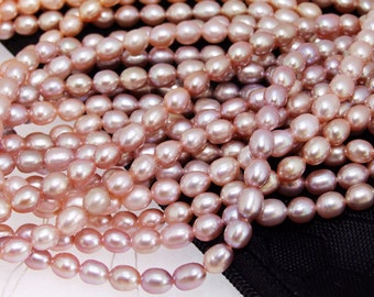 """Super Rice 5mmx6mm Lavender  Freshwater Cultured Pearl Beads Gemstone  One Strand 15"""""""