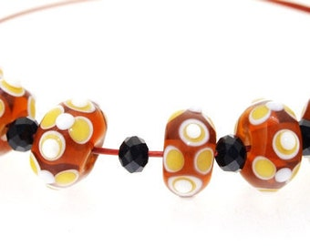 Hole 3mm 6 Beads Coffee Lampwork bead Candy White Dot Handmade jewelry designs European Style