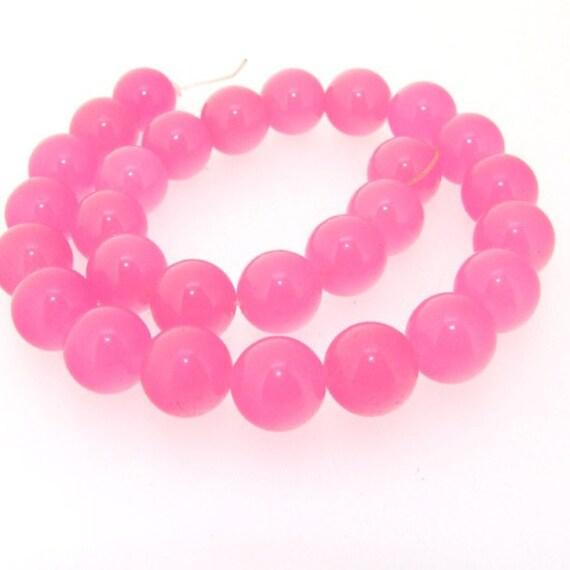 Pink Jade Round 10mm Beads Gemstsone One Strand