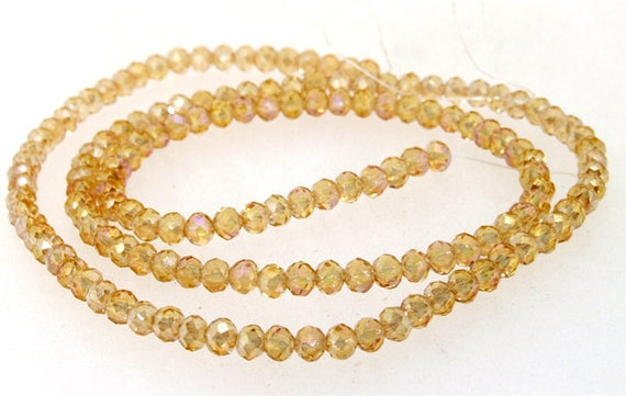 Faceted AB Shiny Champagne Glass Crystal Beads Gemstone Strand 18""