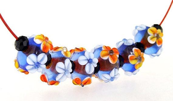 Hole 3mm 6Beads Blue Lampwork bead white four petals Flowers Handmade jewelry designs  European Style