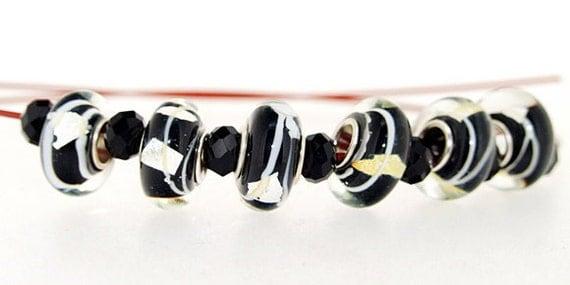 Charm Hole 5mm 6Beads Lampwork beads Black Twist Handmade jewelry designs  European Style
