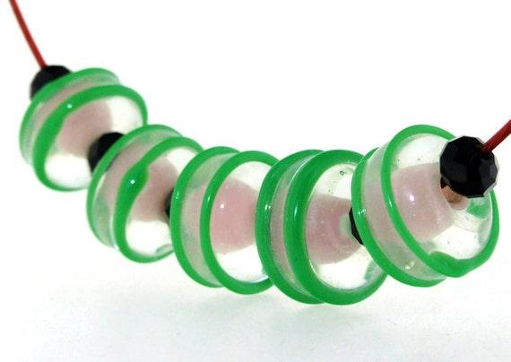 Hole 3mm 5Beads Lampwork beads green twist Pink  beads Handmade jewelry designs  European Style