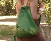 Leather Backpack Triangle in green  MADE TO ORDER