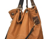 Handmade leather handbag, named Santorini in Noce(tan) color MADE TO ORDER