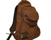 Stonewashed italian canvas -leather backpack, Nota in copper brown with leather details MADE TO ORDER