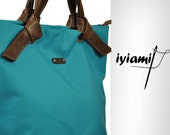 Handmade handbag , Polina, made in turquoise water resistant fabric with leather detais,MADE TO ORDER