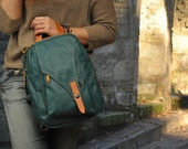 Leather backpack, handmade in green abete color ,named Stephanie