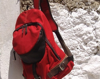 Italian canvas -leather backpack ,Nota in Red