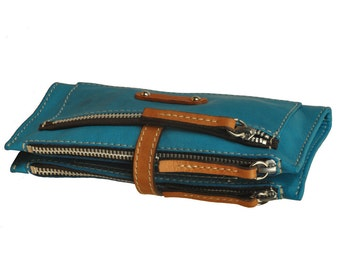 Handmade Women's leather Wallet in turqouise ,named Helios MADE TO ORDER