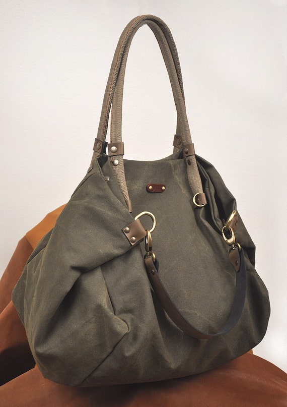Stonewashed Italian canvas shopping bag - Julia in military green.From iyiamihandbags MADE TO ORDER