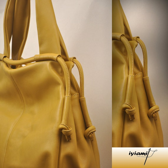 Leather slouchy Handbag, named Femme Fatale , in  yellow  color MADE TO ORDER