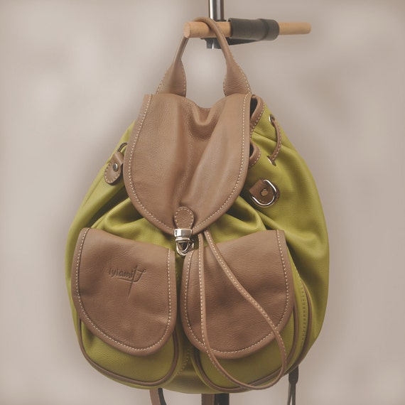 Leather handmade backpack -purse . Ossa in vegetable green with brown detailsMADE TO ORDER