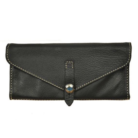Handmade Women's leather Wallet in black ,named Aris MADE TO ORDER