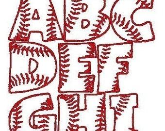 PES ONLY Baseball Font Machine Embroidery Monogram Set 4x4 Hoop