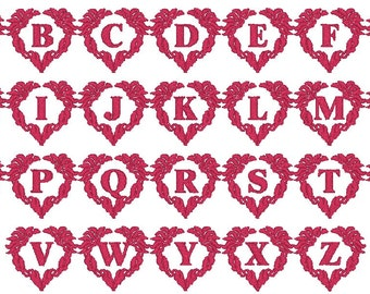 PES ONLY Heart Wreath Font Machine Embroidery Monogram Set 4x4 Hoop