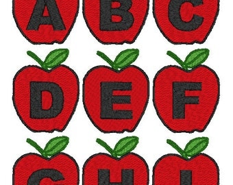 PES ONLY Apples Font Machine Embroidery Monogram Set 4x4 Hoop