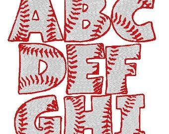 Filled In Baseball Font Machine Embroidery Monogram Set 4x4 Hoop