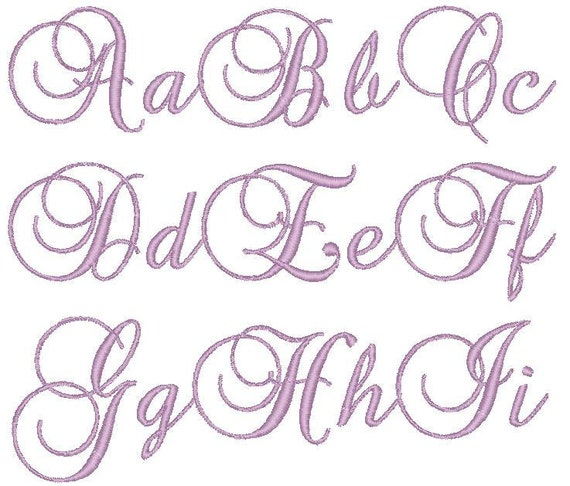 PES ONLY Brock Script Font Machine Embroidery Monogram Set 4x4 Hoop