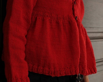 Princess Peplums cardigan knitting pattern Instant Download