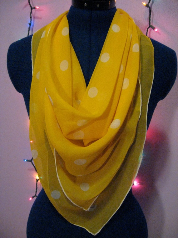 Vintage 60s Yellow with White Polka Dots Silk Scarf