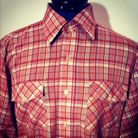 Vintage 80s Country Touch Men's Red Plaid Western Shirt M