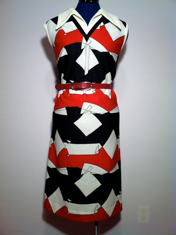 Vintage 60s Abstract Shift Dress Red Black White M L