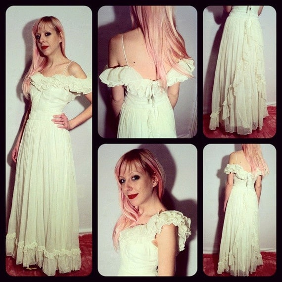 Vintage Wedding Dress Xs: Vintage 40s Organza Wedding Dress XS By BeatificVintage On