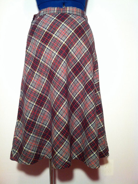 Vintage 70s Summit of Boston Grey Plaid Wool A Line Skirt S M