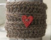50% OFF Manx Wool Mohair Beverage Mug Cozy Love Heart Button Brown Chunky Crochet
