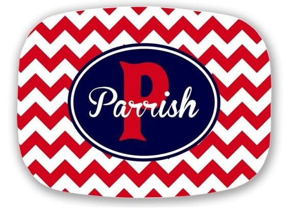 Personalized Platter - Red Chevron - Ole Miss Hotty Toddy