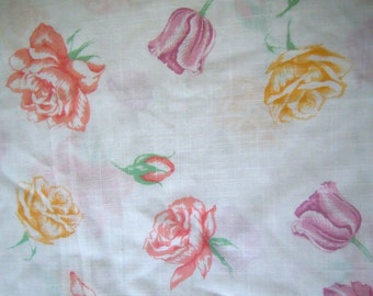 Roses and Tulips Vintage Cotton Fabric- 2 plus Yards-Red, Purple, Yellow Roses and Tulips