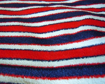 Red, White and Blue Striped Vintage Fabric- 1 Yard