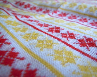 Argyle Vintage Stretchy Knit Fabric- Red and Yellow Argyle- Tube of Fabric- 1 Plus Yard