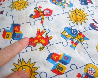 Nursery and Childrens Toys Vintage Fabric- 1 Plus Yard- Clowns, Suns, Jack-in-the-box, Horses, Ducks,Trains, Alphabet Blocks-Puzzle Pieces