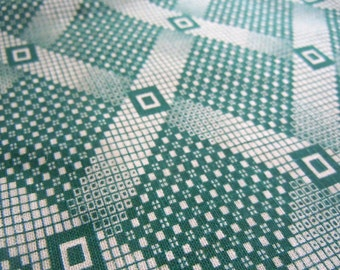 Diamond Patterned Vintage Fabric- 1 Yard- Green Diamonds- Green Checkered Print