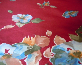 Burgandy Floral Vintage Polyester Fabric- 4 Plus Yards