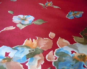 Burgandy Floral Vintage Polyester Fabric- 4 Plus Yards