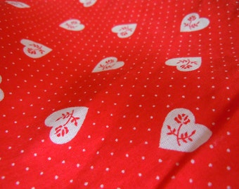 Red Rose White Heart Vintage Fabric- 1 Plus Yard