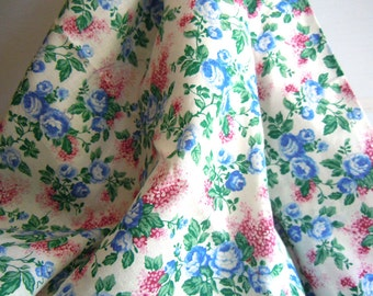 Blue Roses and Pink Hydrangeas Vintage Fabric- 2 Yards