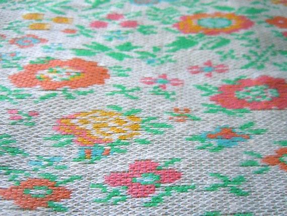 Pastel Floral Polyester Knit Vintage Fabric Remnant