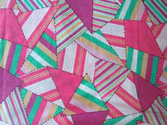 Reserved for Laura Plenzik-Colorful Triangle Vintage Fabric- Cotton Blend Stretchy Knit- 1  Plus Yard