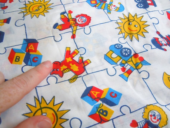 Nursery and childrens toys vintage fabric 1 plus yard for Vintage childrens fabric by the yard