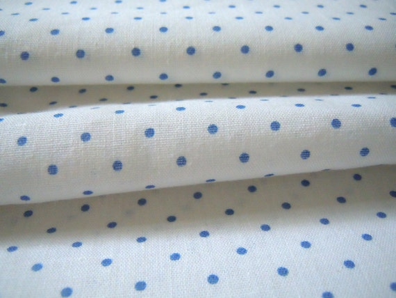 Blue Polka Dot Vintage Fabric- 1 Plus Yard