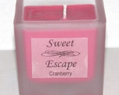 Sweet Escape 1.8oz Cranberry Scented Votive Candle in Square Frosted Glass Container Made with All Natural Soy Wax