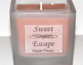 Sweet Escape 1.8oz Maple Pecan Scented Votive Candle in Square Frosted Glass Container Made with All Natural Soy Wax